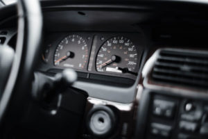 Car dashboard and speedometer